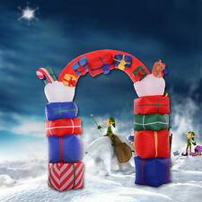 8Ft Airblown Inflatable Christmas Xmas Santa Arch Gift Box Decor Lighted Outdoor