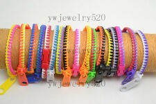 FREE Wholesale 12pcs Beautiful Bicolor Hip Zip Zipper Design fashion Bracelets