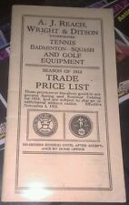 1933 A.J. REACH, WRIGHT & DITSON TENNIS, GOLF BADMITTON TRADE PRICE LIST CATALOG