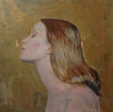 "WILLIAM OXER ORIGINAL CANVAS ""Girl with Flaxen Hair II""  Pretty Blond PAINTING"