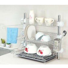 New Stainless 3 Floor Stand Dish Drying Rack Cup Storage Shelf Sink Kitchen