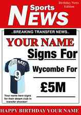 A5 Personalised Wycombe Football Greeting Birthday Card any name, age value