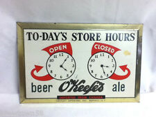 O'Keefe's beer sign tin tacker open close clocks store hours imported Canada GO2
