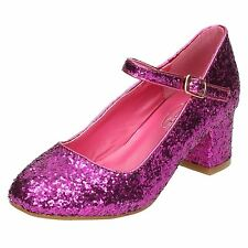 GIRLS SPOT ON GLITTER HEELS FORMAL PINK BLACK SILVER PARTY SHOES H3057