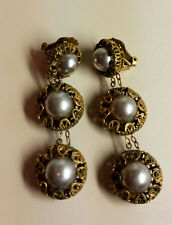 "Vintage Russian Gold Gilt MIRIAM HASKELL Pearl filigree Earrings 2.5"" drop"