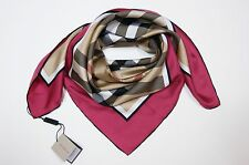 New Classic Burberry Beige Check Red Border Silk Scarf 29,5 x 29,5