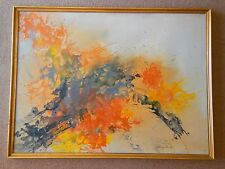 Mid Century Modern Abstract Oil Painting New York Artist Louise Hancock 4' X 3'