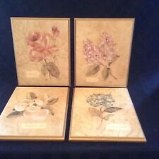 Set Of 4 Flower Wood Wall Plaques Decor Pictures