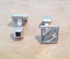 SALE! Ermenegildo Zegna 925 Sterling Silver Cutout Square Double Sided CufflinkS