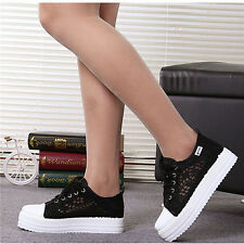 Womens Lace Round Toe Hollow Platform Wedge Shoes Lace Up Breathable Sneakers