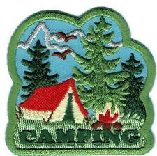 Girl Boy Cub CAMPING tent trees Fun Patches Crests Badges SCOUT GUIDE camp out