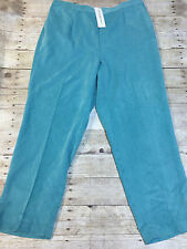 ALFRED DUNNER PLUS SIZE PULL ON PANTS CORDUROY MIST GREEN 20W PROP MED