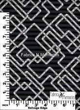 Pipes on Black Fabric F1065 South Sea Imports BY THE HALF YARD