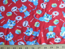 *BTY* Cats, Goldfish and Fish Bones on Red Fabric cotton material kitty kittens