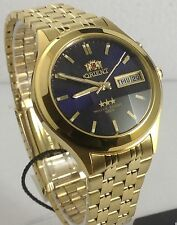 NEW   Orient Men's Watch Automatic  Faceted Gold tone Blue  Dial Box+Warranty