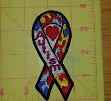 Autism awareness iron on motorcycle biker embroidered vest patch