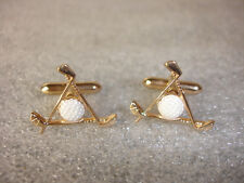 Old Vtg Collectible Gold Tone Golf Ball And Clubs Cufflinks