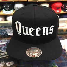"Mitchell & Ness ""Queens"" Snapback Hat Cap Black/White jordan retro 1 high hi og"