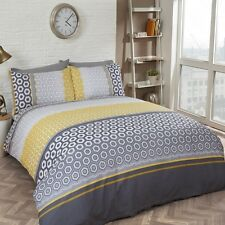 MODERN GEOMETRIC POLY COTTON BEDDING QUILT DUVET COVER SET YELLOW GREY BLUE NAVY