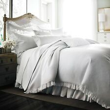 Bloomingdale's 1872 Pique Cotton Duvet Comforter Cover QUEEN WHITE A048