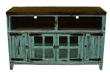 """60"""" Turquoise TV Stand With Glass Doors Real Wood Rustic Western Console"""