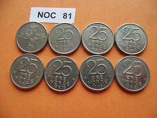 NORWAY (NORGE). 8 COINS@25 ORE. RUN OF THE YEARS (1974-1981)#NOC81