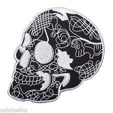 Skull White Mexican Sugar Flower Horror Goth Motorcycle Bike Iron on Patch #1541
