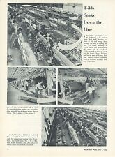 1953 Aviation Article Lockheed T-33 Trainers Being Built Factory Assembly Line