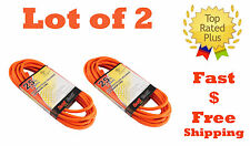 lot of 2 25ft Heavy Duty Electric Extension Power Cord 16  Indoor Outdoor UL