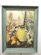 Oil  On Canvas  Art Painting Flowers & Pale Yellow Vase With Fruits by A. Foster