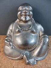 Vintage Estate Find Silver Mixed Metal Buddha Smiling Happy Sitting Figurine 4""