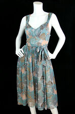 Tracy Reese Sz 6 M Dress Silk Chiffon Floral Print Empire Waist Anthropologie