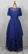 Vintage Dress Gown 80s Retro Victorian Style Evening Wedding Party Boho UK 10