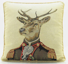 Mr Stag 18 Inch Luxury Cushion Cover Retro Vintage Print Beige Gold Brown