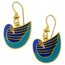 NEW! Laurel Burch Petite PAJARRO Blue Cloisonné Retired Bird Dove Earrings
