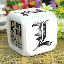Anime Death Note L LED Digital Alarm Clock 7 Color Change &Thermometer Calendar