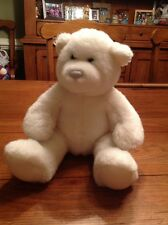 "Build A Bear Workshop White Plush 15"" Bear HAPPY BIRTHDAY Song Inside NICE Look"