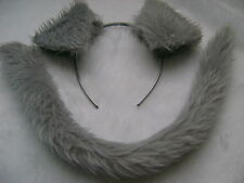 Grey Labrador Puppy Dog Ears And Tail Set Grey Faux Fur Instant Fancy Dress New