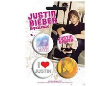 JUSTIN BIEBER pack 1 BUTTON BADGE PACK - SET OF 4
