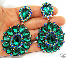 Rhinestone Clip On Chandelier Earrings Bridal Prom Pageant 3.5 inch Green Drag