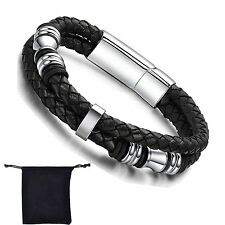 Cool Black Genuine Leather Bracelet Charm Wristband Men's Stainless Steel Clasp