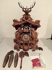 BLACK FOREST CUCKOO CLOCK CUENDET HUNTING THEME HUNTER RIFLES DEER SWISS GERMANY
