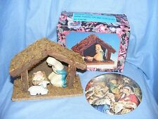 Christmas Nativity Scene And Plaque With Porcelain Figures Decoration Ornaments