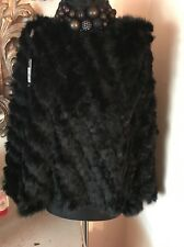❤️ Jayley Black Knitted Real Coney Fur Poncho / Cape Shawl  OneSize & Fabulous