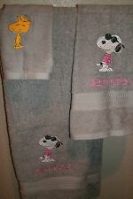Snoopy Joe Cool Personalized 3 Piece Bath Towel Set Any Color Choice