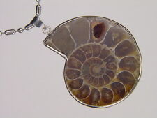 BUTW- Silver Ammonite nautiloid fossil  53 mm pendant necklace jewelry 6177K