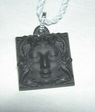 LALIQUE Talisman Arethuse Masque de Femme Black Crystal Pendant Necklace NIB