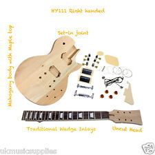 L.P D.I.Y Guitar Kit HY111 Wedge inlays / Mahogany Body Top UK Stock Quick Del