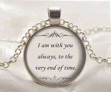 Book quote Cabochon Glass silver necklace for women men Jewelry Q#20