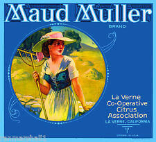 La Verne Maud Muller Poem by John Whittier Orange Citrus Fruit Crate Label Print